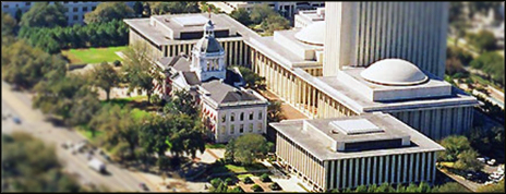 An arial view of Tallahassee Capital Building