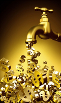 A golden faucet with golden dollar signs puring out