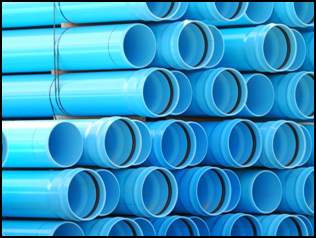 A stack of blue pipes